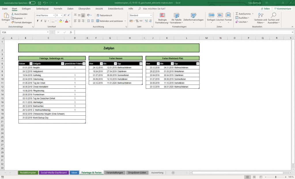 Tabelle für Feiertage, Gedenktage und Schulferien