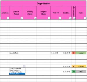 Redaktionsplan Organisatorisches